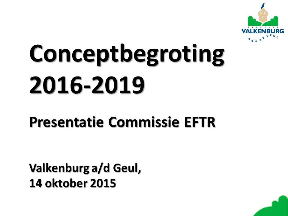 Conceptbegroting 2016-2019 Presentatie Commissie EFTR Valkenburg a/d Geul, 14 oktober 2015