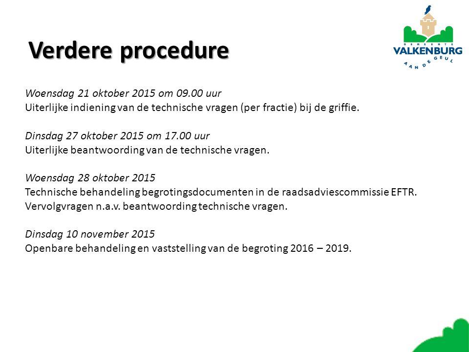 Verdere procedure Woensdag 21 oktober 2015 om 09.00 uur Uiterlijke indiening van de technische vragen (per fractie) bij de griffie. Dinsdag 27 oktober