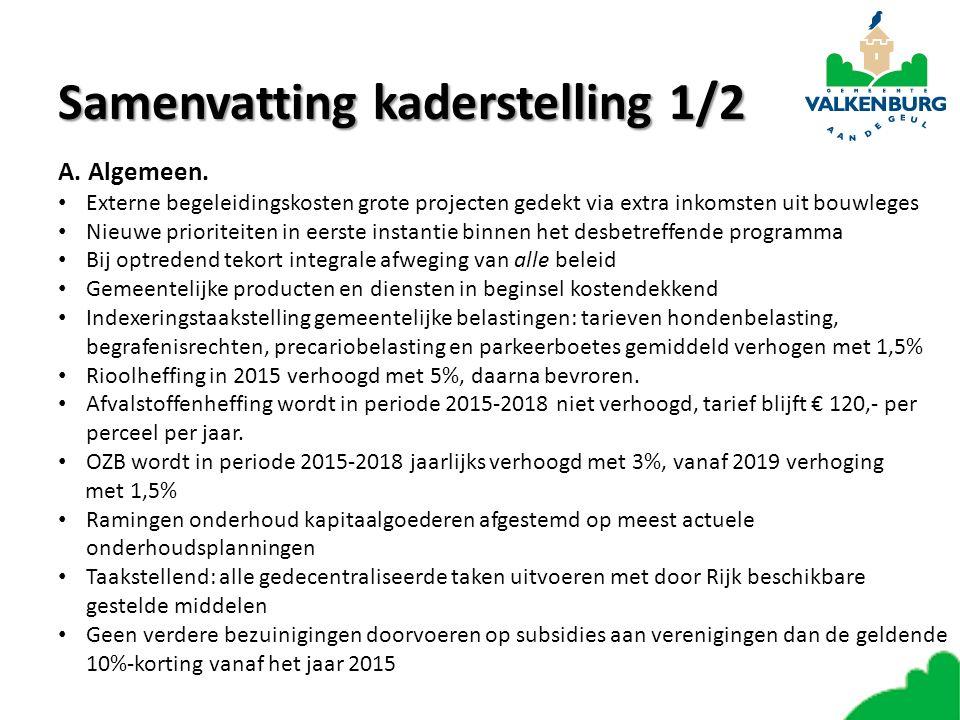 Samenvattingkaderstelling 1/2 Samenvatting kaderstelling 1/2 A.