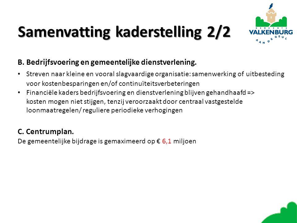 Samenvattingkaderstelling 2/2 Samenvatting kaderstelling 2/2 B. Bedrijfsvoering en gemeentelijke dienstverlening. Streven naar kleine en vooral slagva