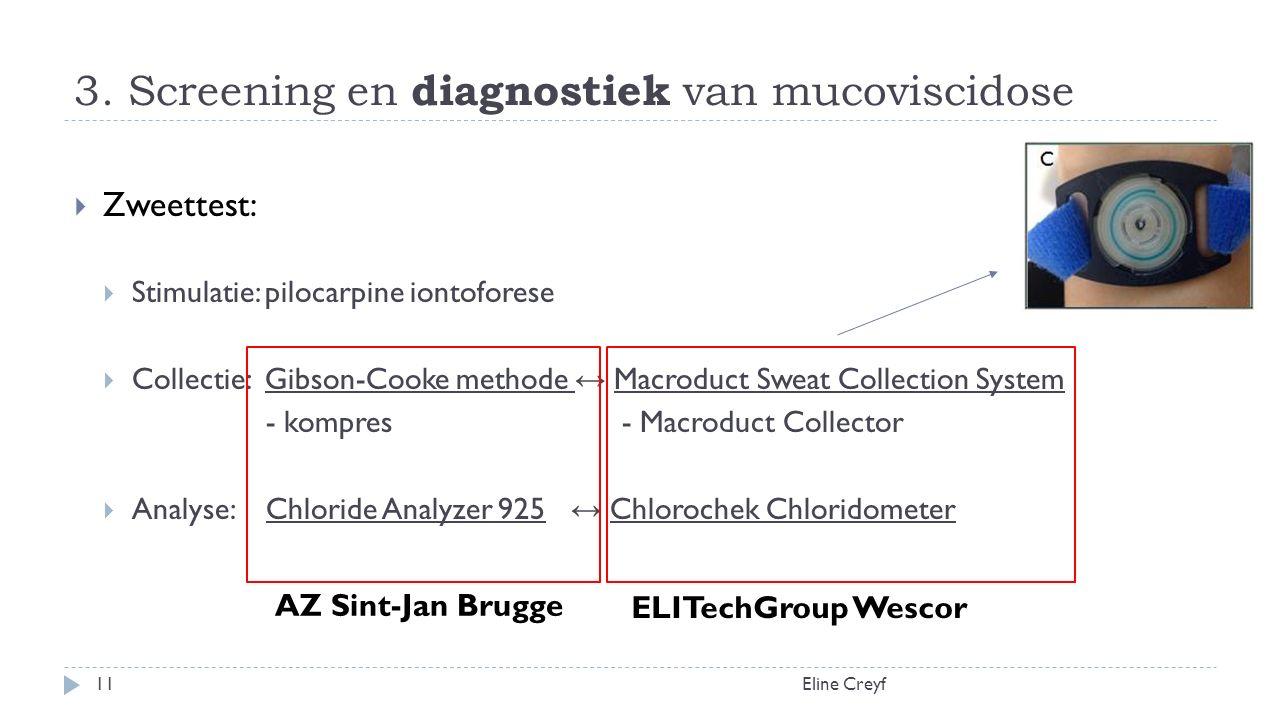 3. Screening en diagnostiek van mucoviscidose Eline Creyf11  Zweettest:  Stimulatie: pilocarpine iontoforese  Collectie: Gibson-Cooke methode ↔ Mac