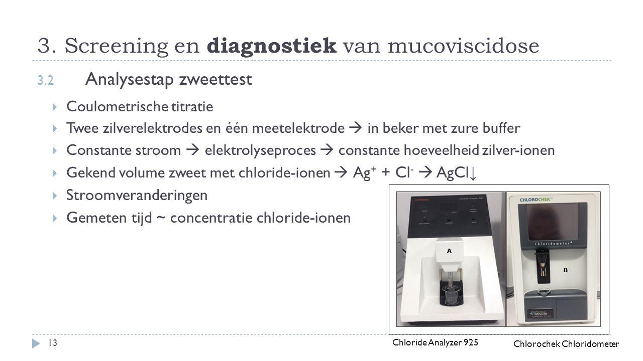 3. Screening en diagnostiek van mucoviscidose 13 3.2 Analysestap zweettest  Coulometrische titratie  Twee zilverelektrodes en één meetelektrode  in