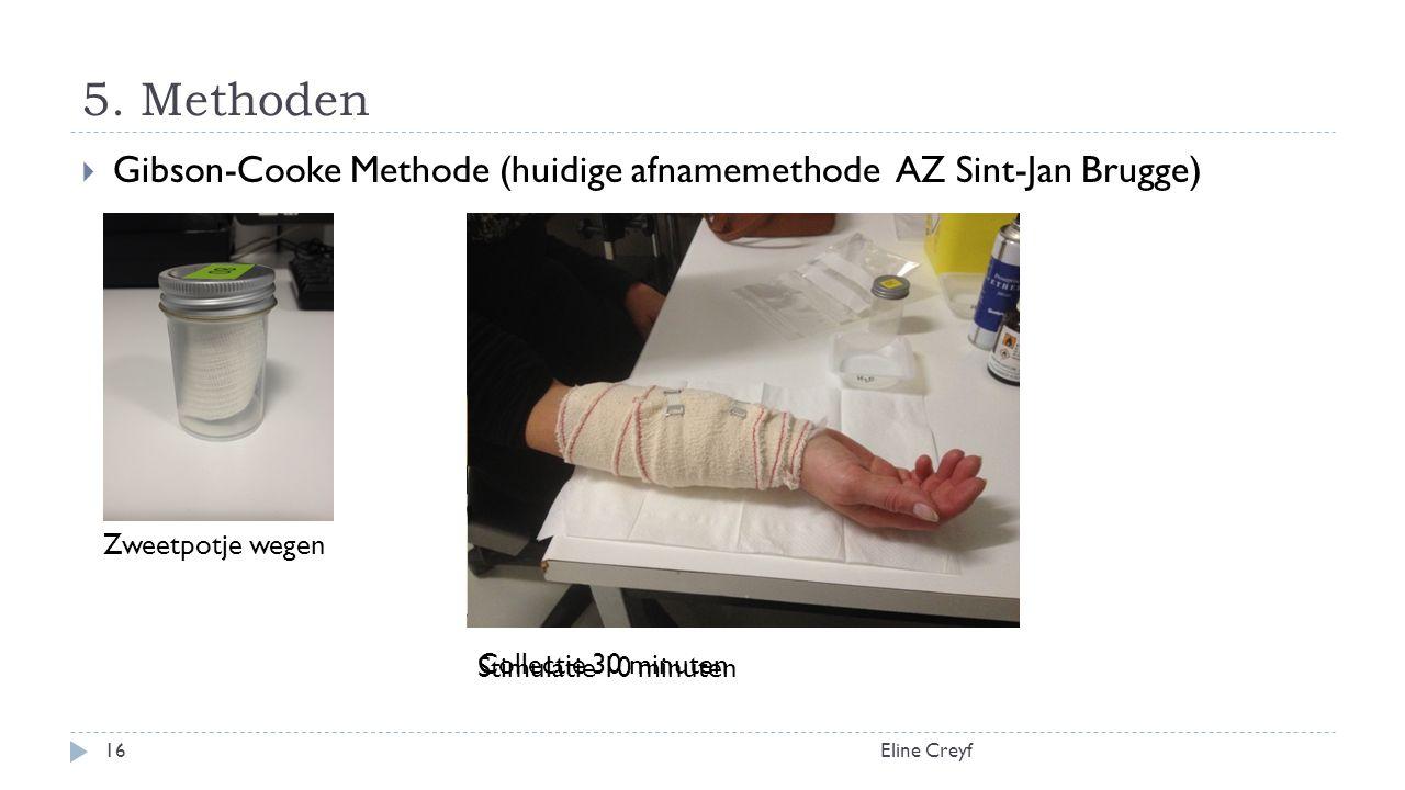 5. Methoden Eline Creyf16  Gibson-Cooke Methode (huidige afnamemethode AZ Sint-Jan Brugge) Zweetpotje wegen Stimulatie 10 minuten Collectie 30 minute