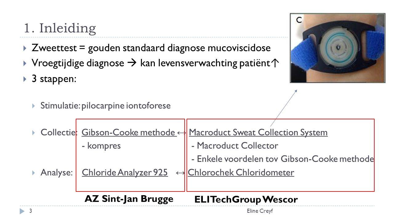 1. Inleiding Eline Creyf3  Zweettest = gouden standaard diagnose mucoviscidose  Vroegtijdige diagnose  kan levensverwachting patiënt ↑  3 stappen: