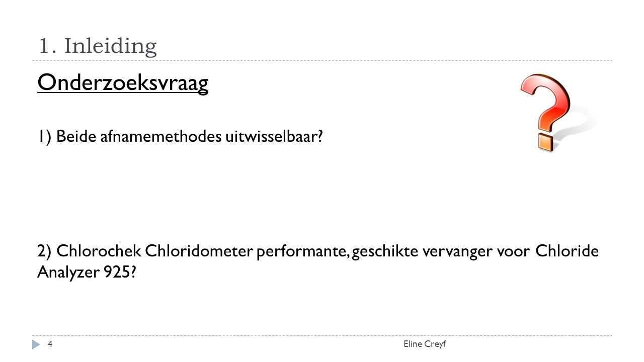 1. Inleiding Eline Creyf4 Onderzoeksvraag 1) Beide afnamemethodes uitwisselbaar.