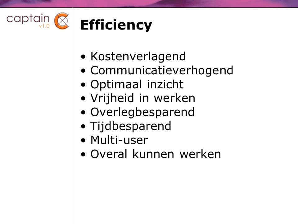 Efficiency Kostenverlagend Communicatieverhogend Optimaal inzicht Vrijheid in werken Overlegbesparend Tijdbesparend Multi-user Overal kunnen werken