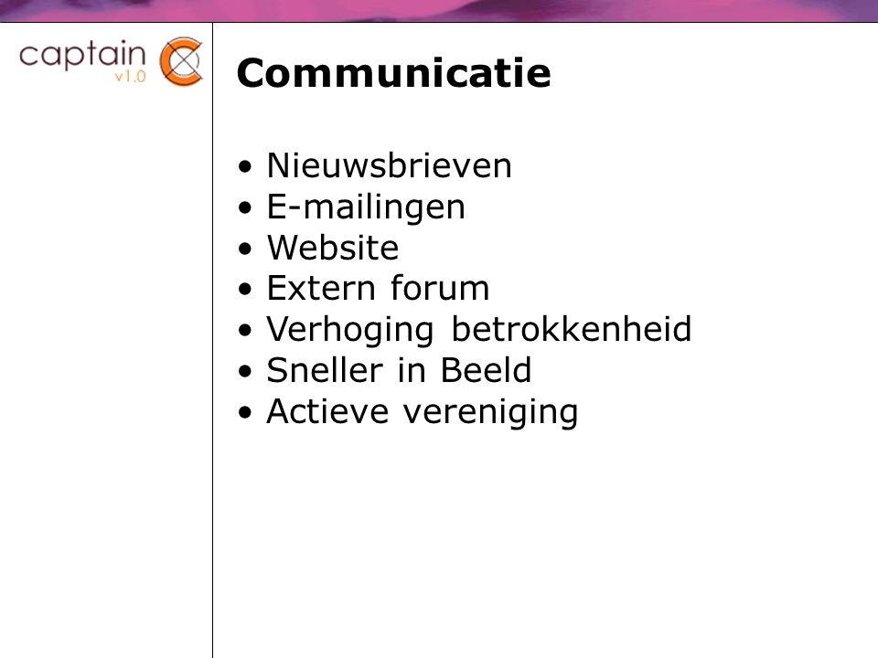 Communicatie Nieuwsbrieven E-mailingen Website Extern forum Verhoging betrokkenheid Sneller in Beeld Actieve vereniging
