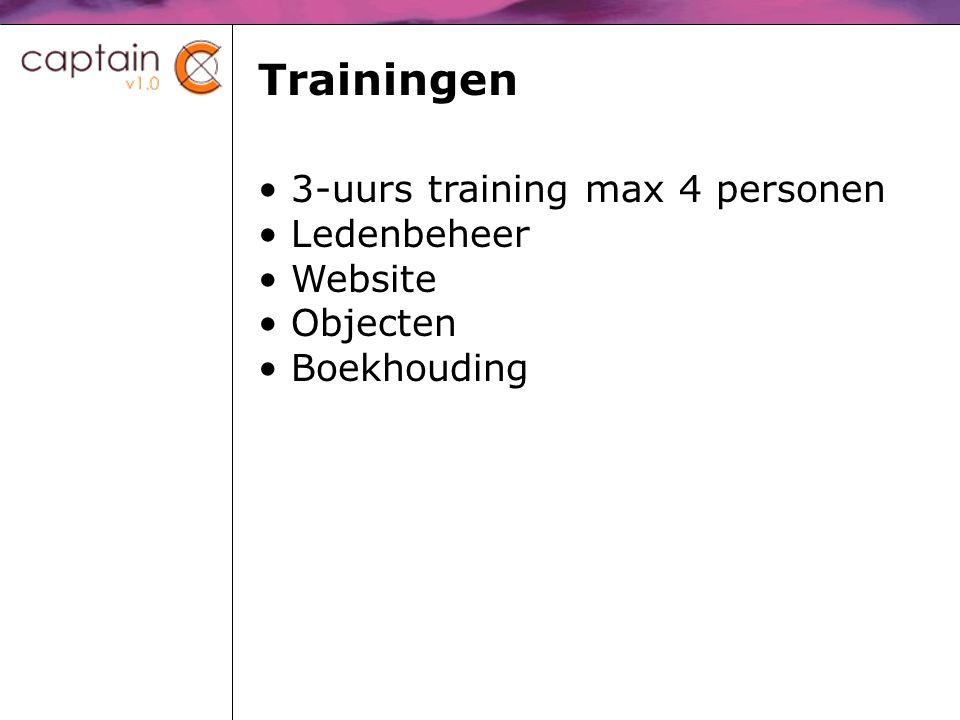 Trainingen 3-uurs training max 4 personen Ledenbeheer Website Objecten Boekhouding
