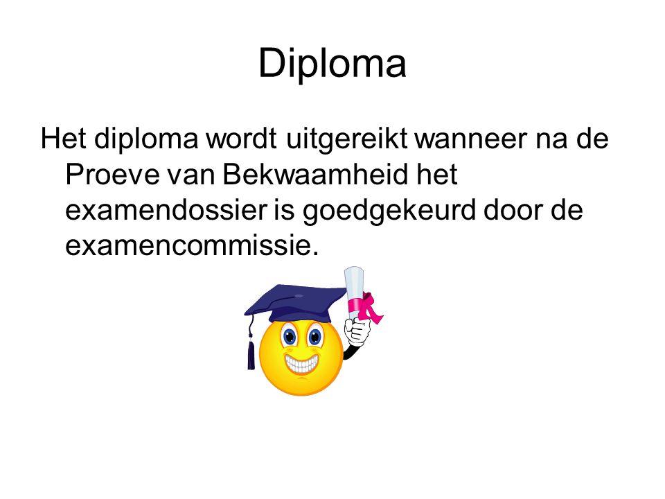 Diploma Het diploma wordt uitgereikt wanneer na de Proeve van Bekwaamheid het examendossier is goedgekeurd door de examencommissie.