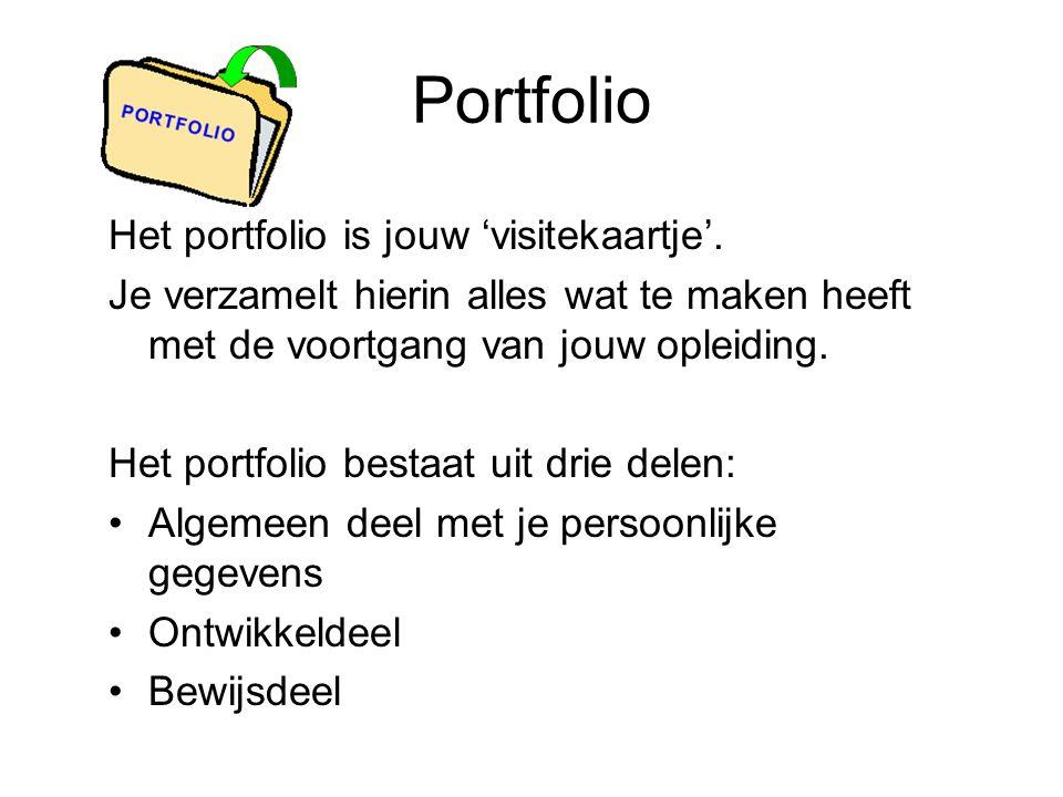 Portfolio Het portfolio is jouw 'visitekaartje'.