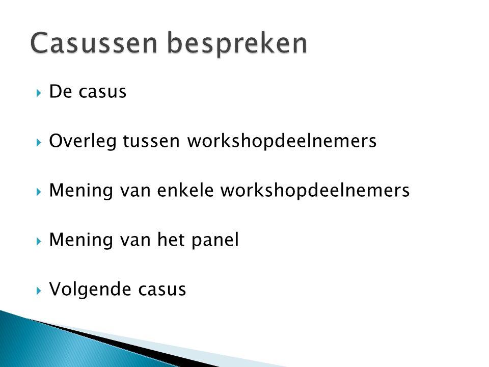  De casus  Overleg tussen workshopdeelnemers  Mening van enkele workshopdeelnemers  Mening van het panel  Volgende casus