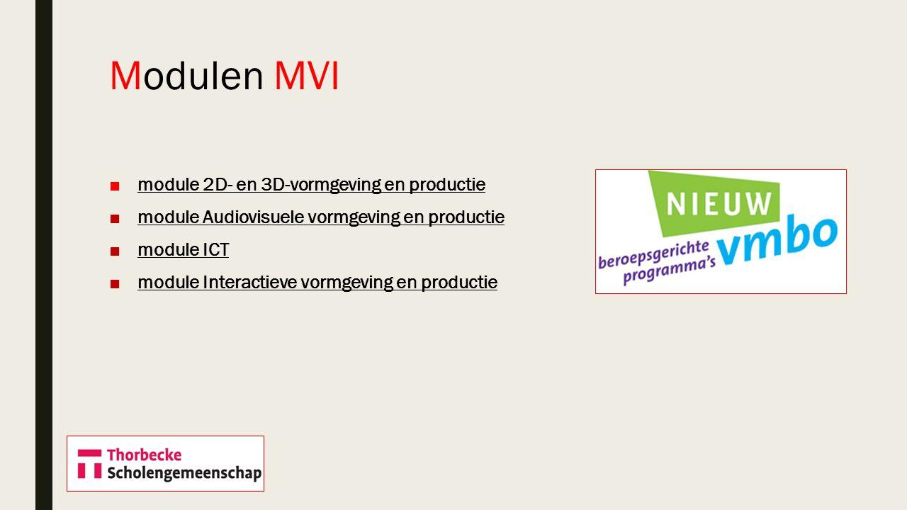 ■module 2D- en 3D-vormgeving en productiemodule 2D- en 3D-vormgeving en productie ■module Audiovisuele vormgeving en productiemodule Audiovisuele vorm