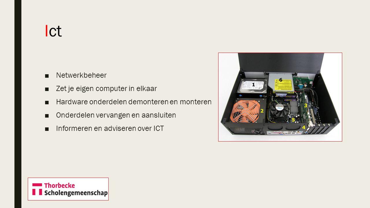 ■Netwerkbeheer ■Zet je eigen computer in elkaar ■Hardware onderdelen demonteren en monteren ■Onderdelen vervangen en aansluiten ■Informeren en adviser
