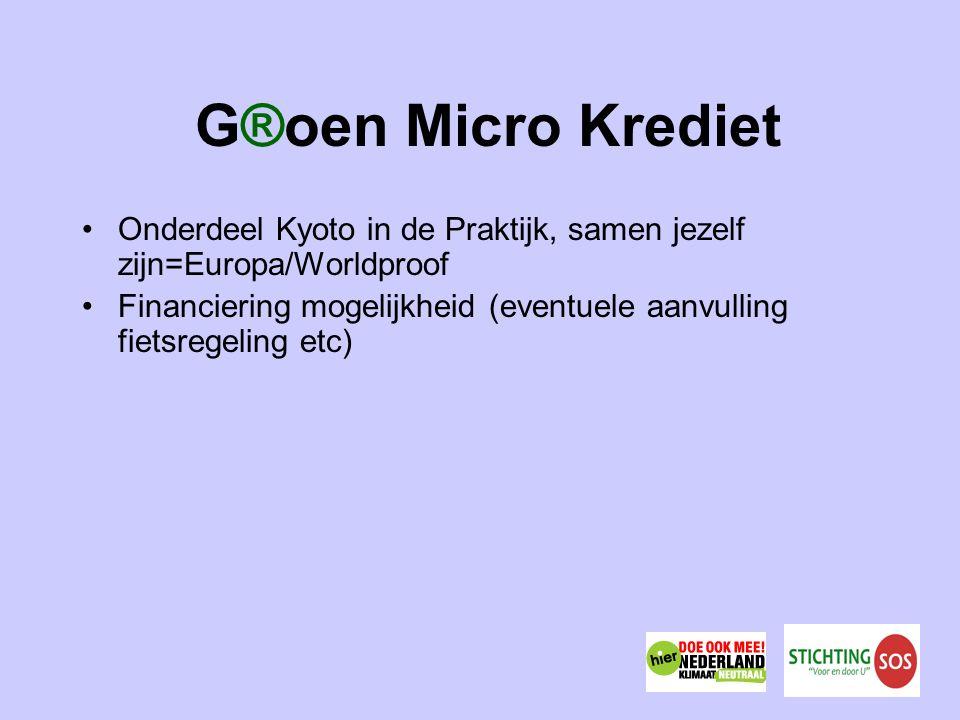 G®oen Micro Krediet Onderdeel Kyoto in de Praktijk, samen jezelf zijn=Europa/Worldproof Financiering mogelijkheid (eventuele aanvulling fietsregeling etc)