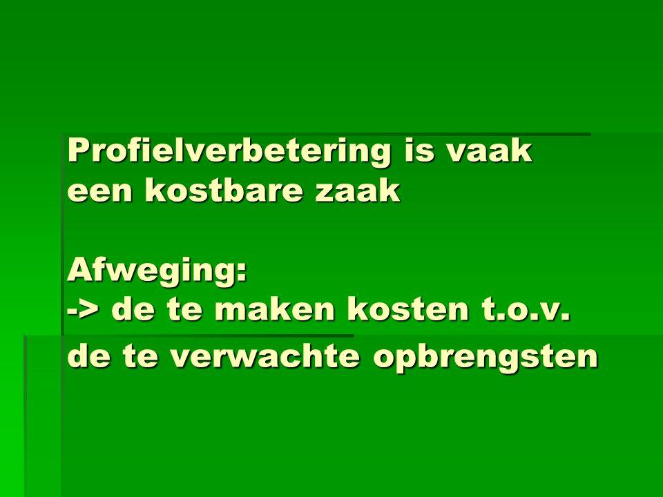Profielverbetering is vaak een kostbare zaak Afweging: -> de te maken kosten t.o.v. de te verwachte opbrengsten