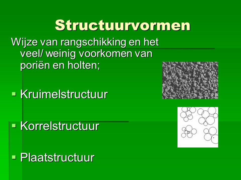 Structuurvormen Wijze van rangschikking en het veel/ weinig voorkomen van poriën en holten;  Kruimelstructuur  Korrelstructuur  Plaatstructuur