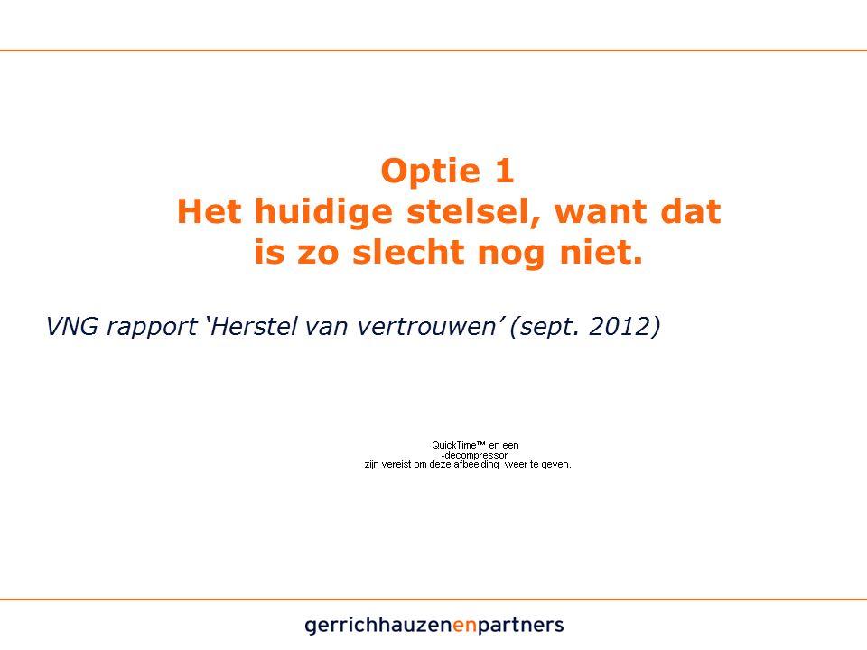 Optie 1 Het huidige stelsel, want dat is zo slecht nog niet. VNG rapport 'Herstel van vertrouwen' (sept. 2012)
