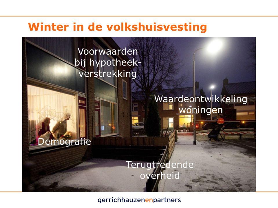 Winter in de volkshuisvesting Vier ontwikkelingen: Demografie Waardeontwikkeling woningen Voorwaarden bij hypotheek- verstrekking Terugtredende overhe