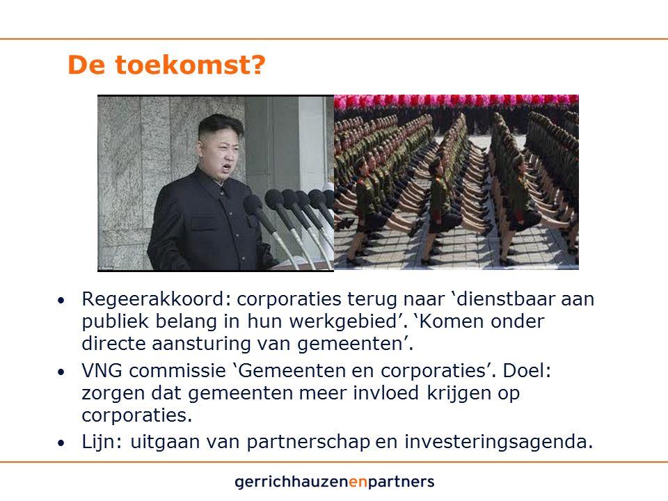 De toekomst? Regeerakkoord: corporaties terug naar 'dienstbaar aan publiek belang in hun werkgebied'. 'Komen onder directe aansturing van gemeenten'.