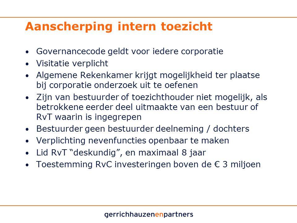 Aanscherping intern toezicht Governancecode geldt voor iedere corporatie Visitatie verplicht Algemene Rekenkamer krijgt mogelijkheid ter plaatse bij c