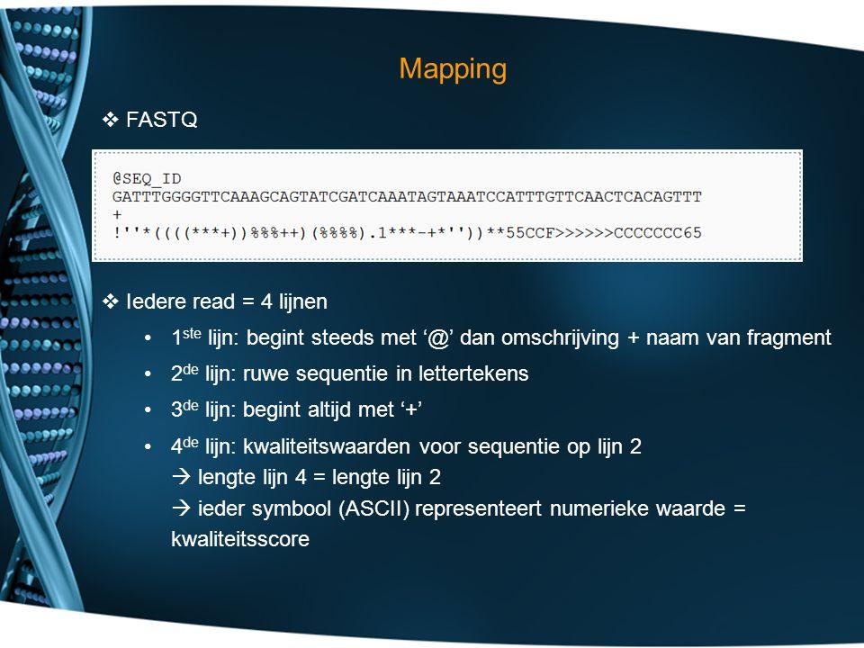 Mapping  FASTQ  Iedere read = 4 lijnen 1 ste lijn: begint steeds met '@' dan omschrijving + naam van fragment 2 de lijn: ruwe sequentie in lettertekens 3 de lijn: begint altijd met '+' 4 de lijn: kwaliteitswaarden voor sequentie op lijn 2  lengte lijn 4 = lengte lijn 2  ieder symbool (ASCII) representeert numerieke waarde = kwaliteitsscore