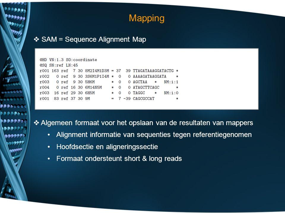 Mapping  SAM = Sequence Alignment Map  Algemeen formaat voor het opslaan van de resultaten van mappers Alignment informatie van sequenties tegen referentiegenomen Hoofdsectie en aligneringssectie Formaat ondersteunt short & long reads