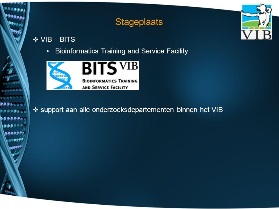  VIB – BITS Bioinformatics Training and Service Facility  support aan alle onderzoeksdepartementen binnen het VIB Stageplaats