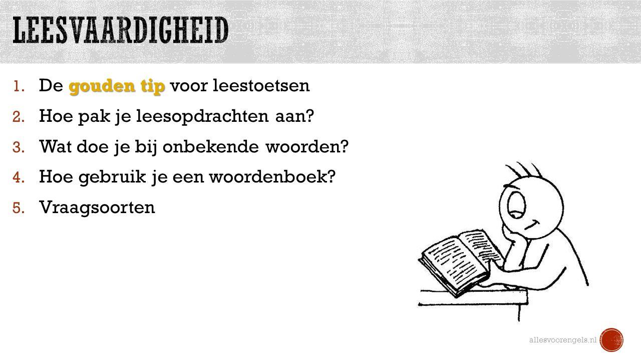 Voorbeeld van invulvraag: allesvoorengels.nl