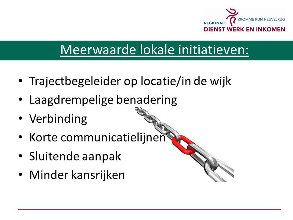 Trajectbegeleider op locatie/in de wijk Laagdrempelige benadering Verbinding Korte communicatielijnen Sluitende aanpak Minder kansrijken Meerwaarde lokale initiatieven: