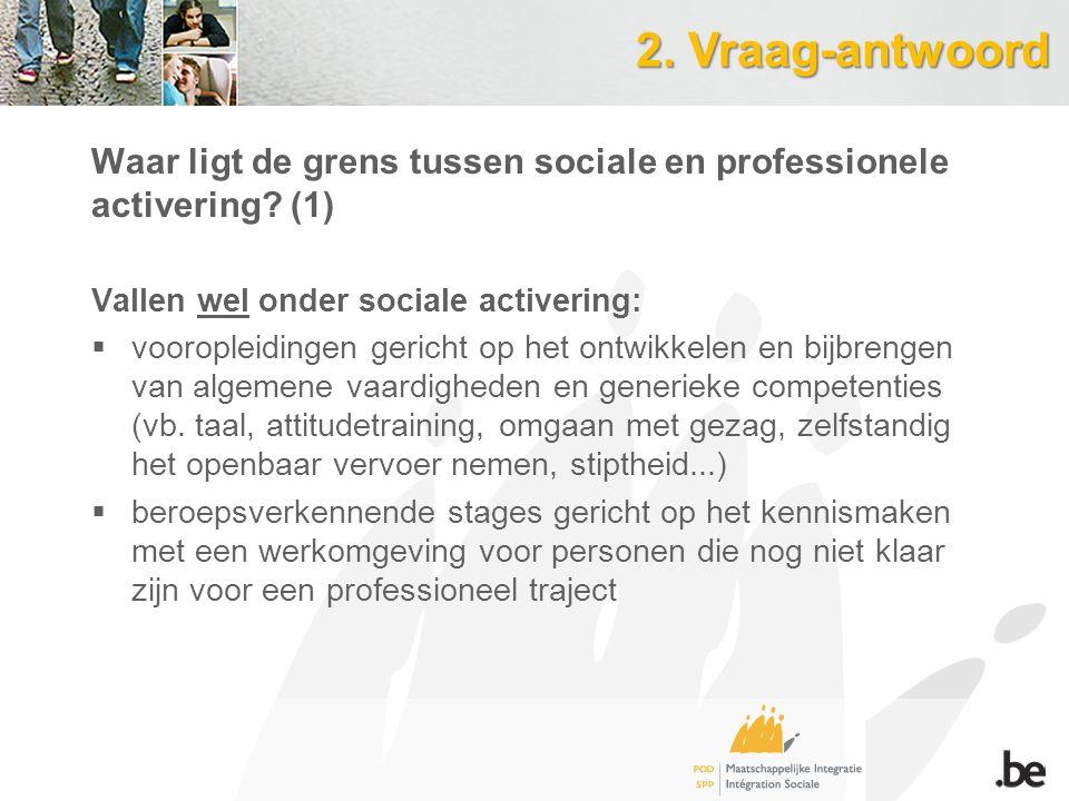 2. Vraag-antwoord Waar ligt de grens tussen sociale en professionele activering.