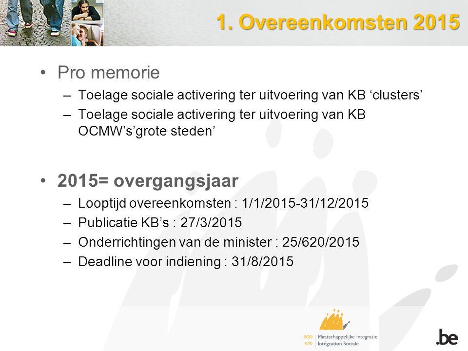 1. Overeenkomsten 2015 Pro memorie –Toelage sociale activering ter uitvoering van KB 'clusters' –Toelage sociale activering ter uitvoering van KB OCMW