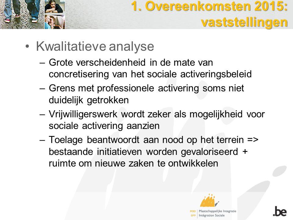 1. Overeenkomsten 2015: vaststellingen Kwalitatieve analyse –Grote verscheidenheid in de mate van concretisering van het sociale activeringsbeleid –Gr