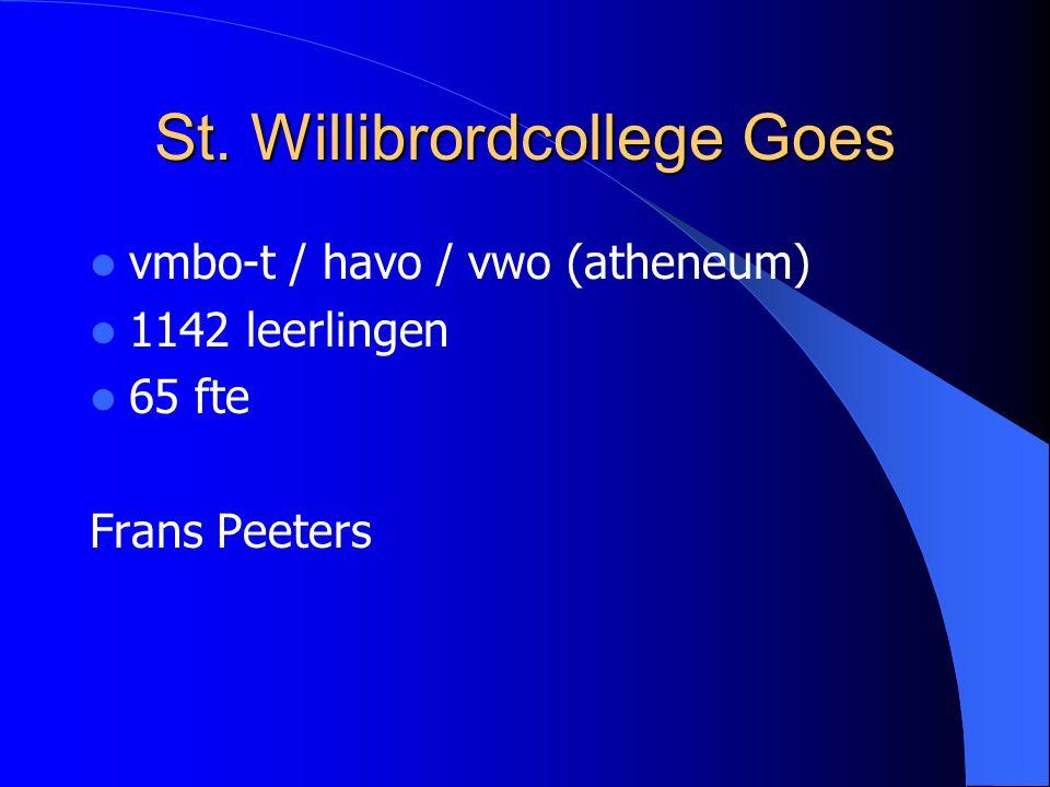 St. Willibrordcollege Goes vmbo-t / havo / vwo (atheneum) 1142 leerlingen 65 fte Frans Peeters