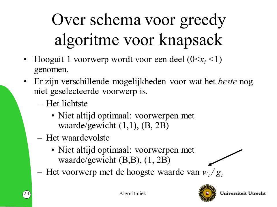 Algoritmiek24 Over schema voor greedy algoritme voor knapsack Hooguit 1 voorwerp wordt voor een deel (0<x i <1) genomen. Er zijn verschillende mogelij