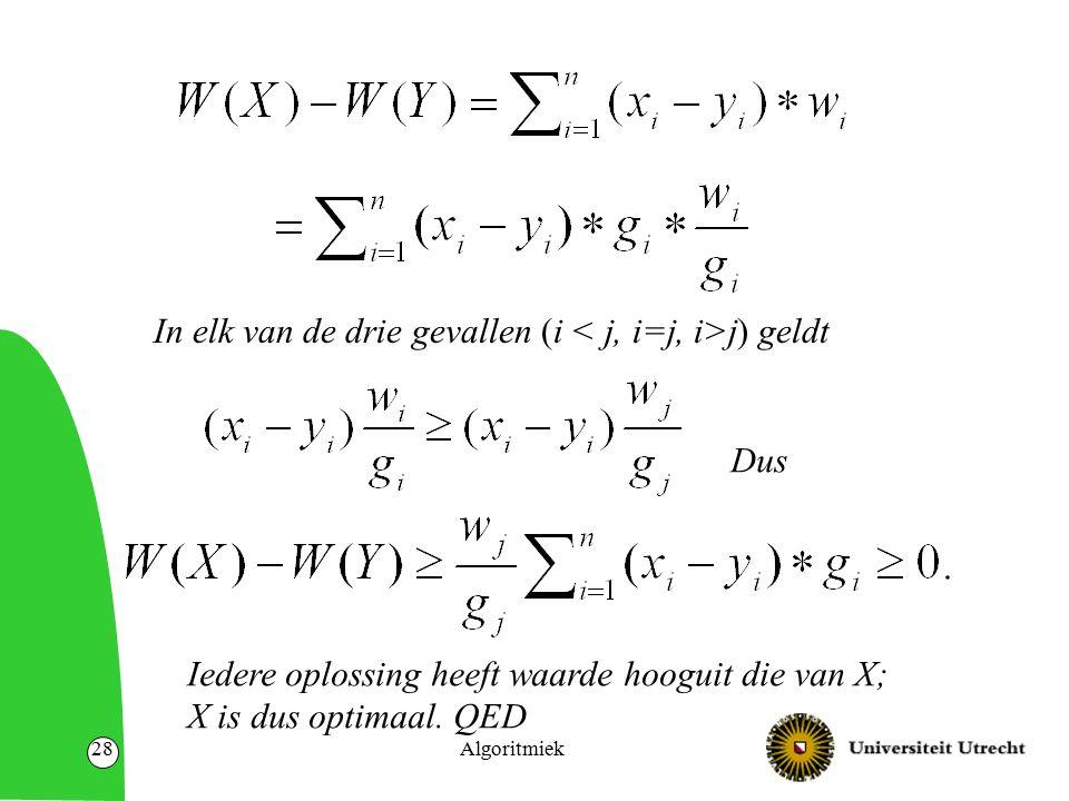 Algoritmiek28 In elk van de drie gevallen (i j) geldt Dus Iedere oplossing heeft waarde hooguit die van X; X is dus optimaal. QED
