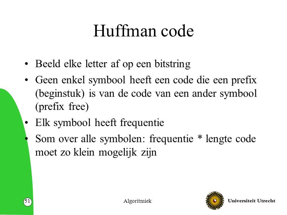 Huffman code Beeld elke letter af op een bitstring Geen enkel symbool heeft een code die een prefix (beginstuk) is van de code van een ander symbool (
