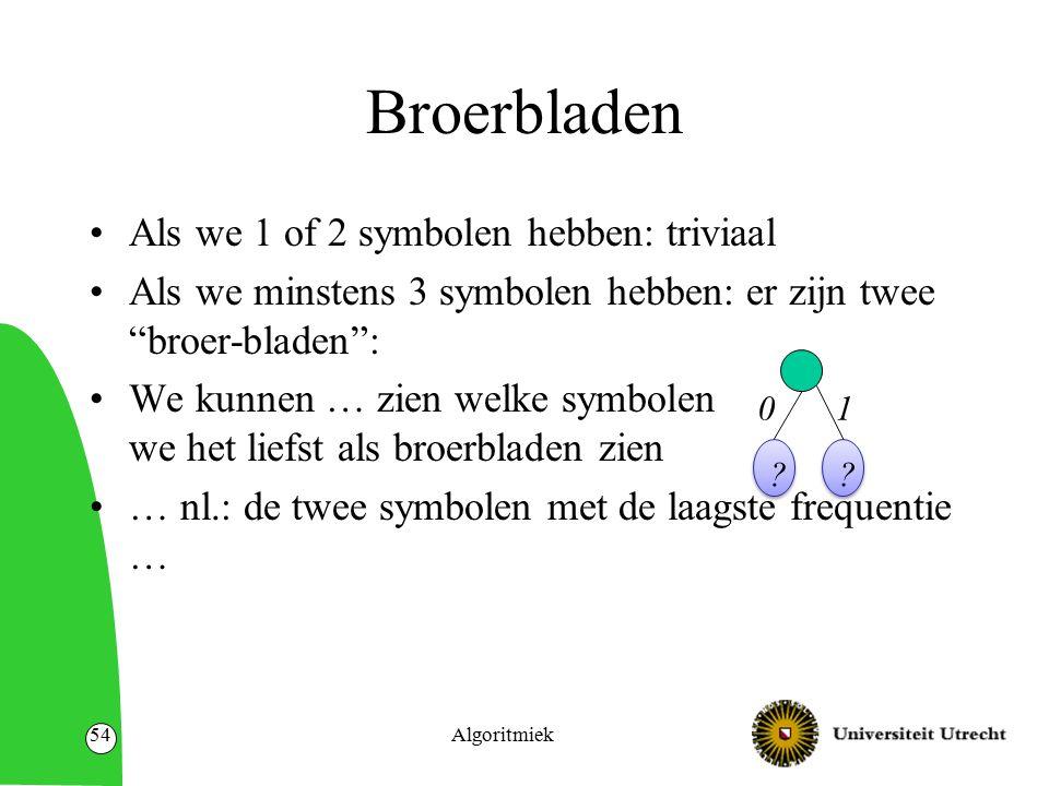 """Broerbladen Als we 1 of 2 symbolen hebben: triviaal Als we minstens 3 symbolen hebben: er zijn twee """"broer-bladen"""": We kunnen … zien welke symbolen we"""