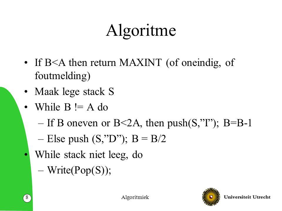 Huffman codes Stel we hebben een tekst die we willen coderen als bitstring Sommige letters komen veel vaker voor dan andere Besparen in lengte door: –Slim codes (in {0,1}*) toewijzen aan letters –Niet elke letter hoeft een code die even lang is Algoritmiek49