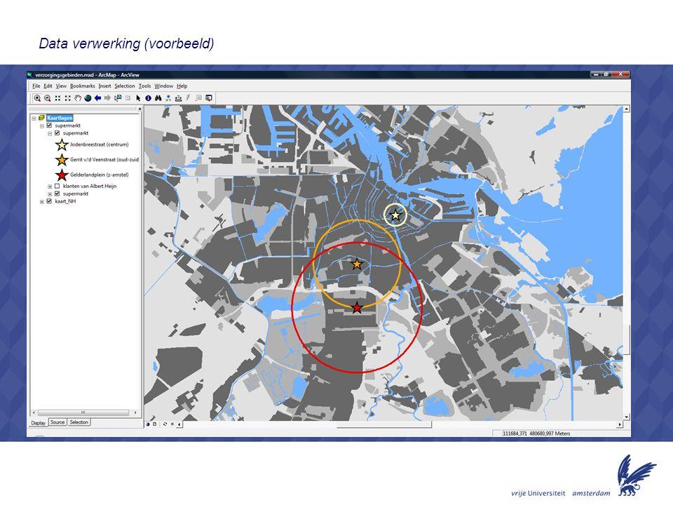 4 1)leren hoe je een goed geografisch onderzoek op kunt zetten -stellen van onderzoeksvragen -het formuleren van hypotheses -vaststellen van een dataverzameling methode -verwerken van data tot kaarten -presenteren van de resultaten / rapport schrijven over de resultaten 2) kennis opdoen over verzorgingsgebieden van winkels en het keuzegedrag van (potentiële) klanten Output Presentatie Rapportje 4 Leerdoelen