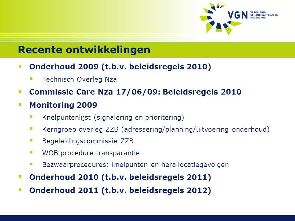 Recente ontwikkelingen  Onderhoud 2009 (t.b.v. beleidsregels 2010)  Technisch Overleg Nza  Commissie Care Nza 17/06/09: Beleidsregels 2010  Monito