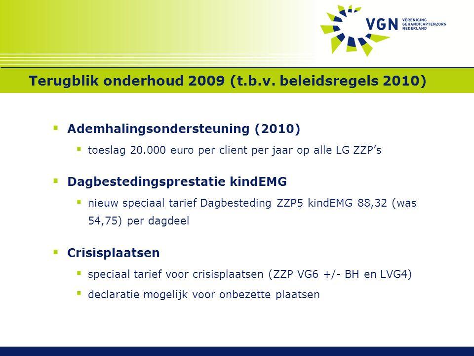 Terugblik onderhoud 2009 (t.b.v. beleidsregels 2010)  Ademhalingsondersteuning (2010)  toeslag 20.000 euro per client per jaar op alle LG ZZP's  Da