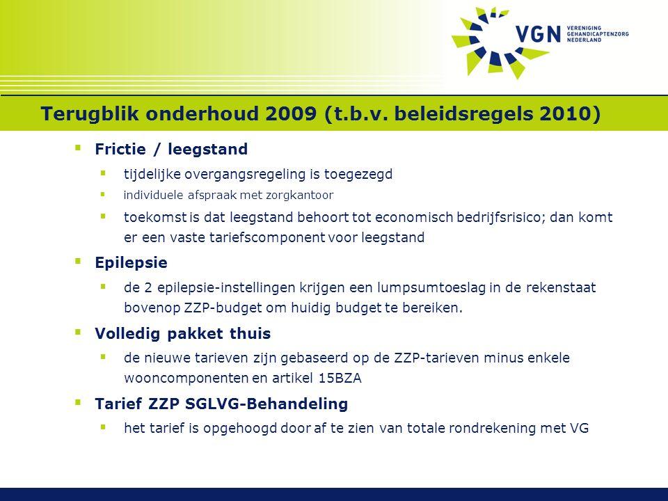 Terugblik onderhoud 2009 (t.b.v. beleidsregels 2010)  Frictie / leegstand  tijdelijke overgangsregeling is toegezegd  individuele afspraak met zorg