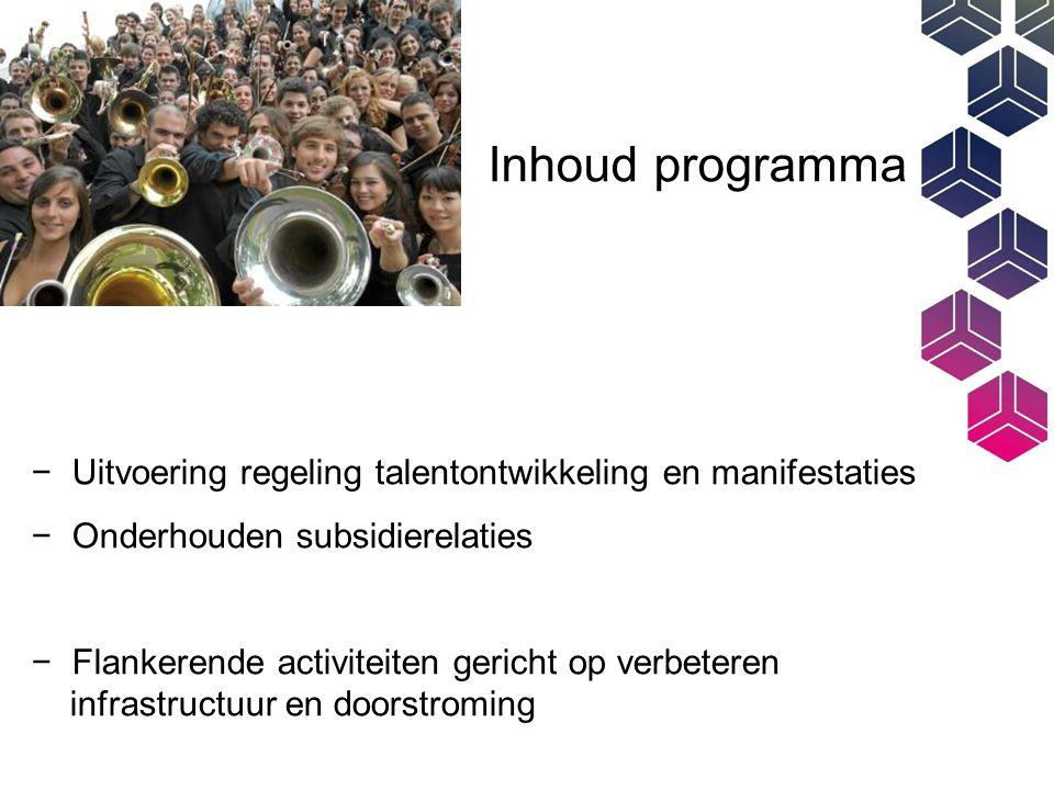 Inhoud programma − Uitvoering regeling talentontwikkeling en manifestaties − Onderhouden subsidierelaties − Flankerende activiteiten gericht op verbeteren infrastructuur en doorstroming
