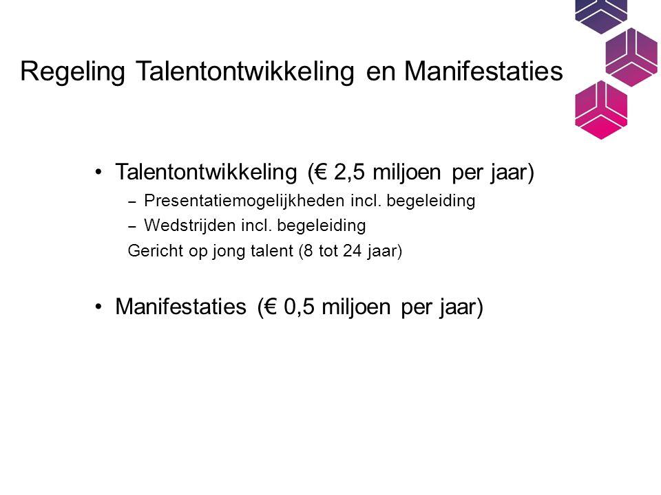 Regeling Talentontwikkeling en Manifestaties Talentontwikkeling (€ 2,5 miljoen per jaar) ‒ Presentatiemogelijkheden incl.