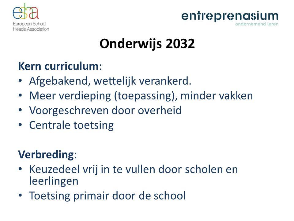 Onderwijs 2032 Kern curriculum: Afgebakend, wettelijk verankerd. Meer verdieping (toepassing), minder vakken Voorgeschreven door overheid Centrale toe