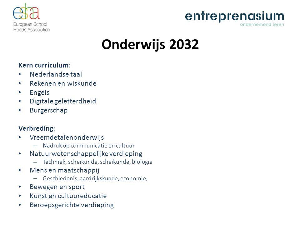 Onderwijs 2032 Kern curriculum: Nederlandse taal Rekenen en wiskunde Engels Digitale geletterdheid Burgerschap Verbreding: Vreemdetalenonderwijs – Nad