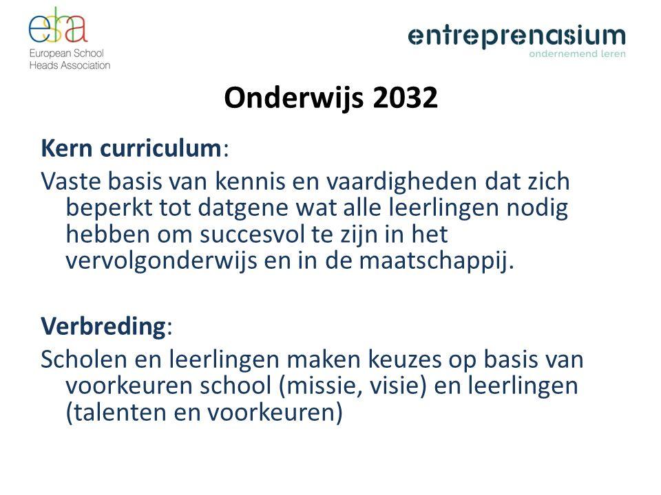Onderwijs 2032 Kern curriculum: Vaste basis van kennis en vaardigheden dat zich beperkt tot datgene wat alle leerlingen nodig hebben om succesvol te zijn in het vervolgonderwijs en in de maatschappij.