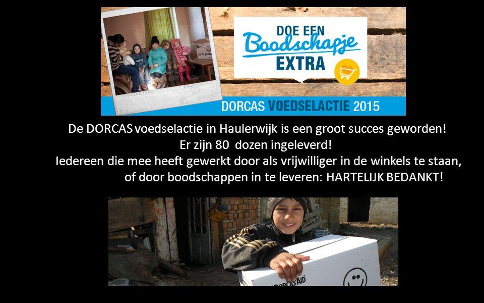 De DORCAS voedselactie in Haulerwijk is een groot succes geworden! Er zijn 80 dozen ingeleverd! Iedereen die mee heeft gewerkt door als vrijwilliger i