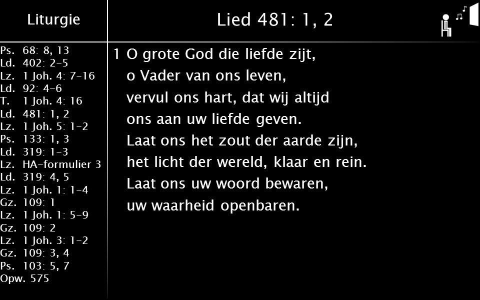 Liturgie Ps.68: 8, 13 Ld.402: 2-5 Lz.1 Joh. 4: 7-16 Ld.92: 4-6 T.1 Joh.