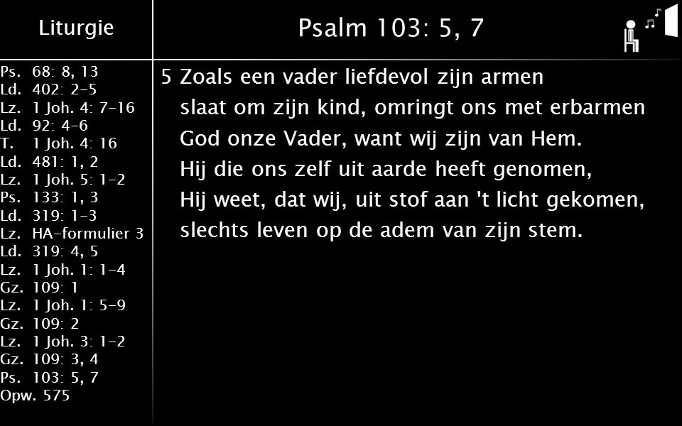 Liturgie Ps.68: 8, 13 Ld.402: 2-5 Lz.1 Joh. 4: 7-16 Ld.92: 4-6 T.1 Joh. 4: 16 Ld.481: 1, 2 Lz.1 Joh. 5: 1-2 Ps.133: 1, 3 Ld.319: 1-3 Lz.HA-formulier 3